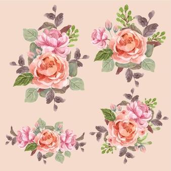 Ramo floral con amor floreciente concepto diseño acuarela ilustración
