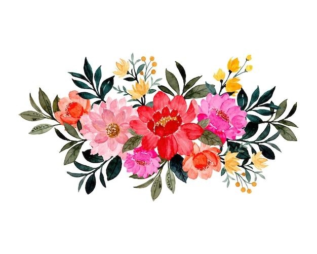 Ramo floral colorido con acuarela