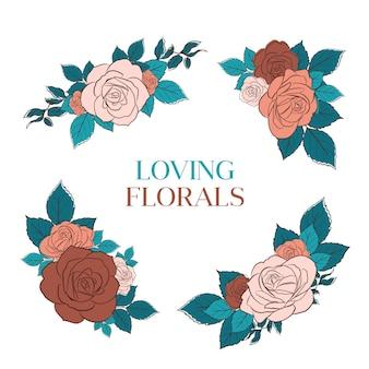 Ramo floral con ilustración de acuarela de diseño de concepto de arte de línea de primavera