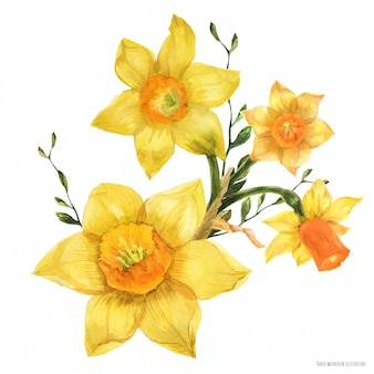 Ramo floral de primavera amarilla con flores de narciso