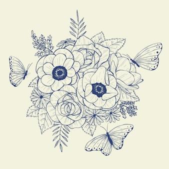 Ramo floral realista dibujado a mano