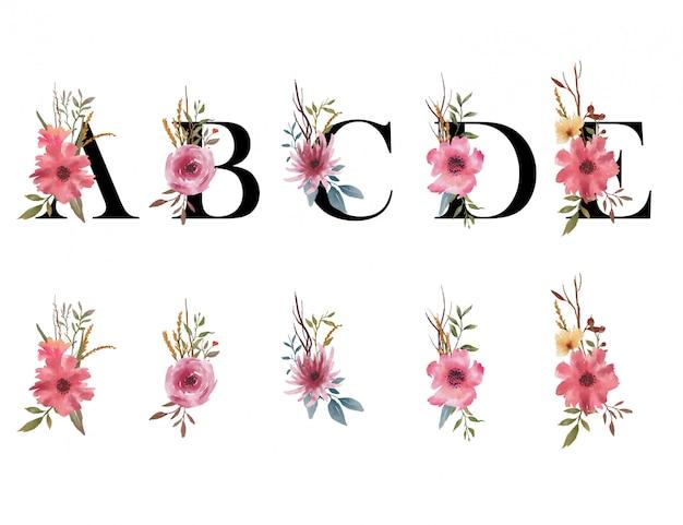 Ramo de flores de acuarela, con letras del alfabeto