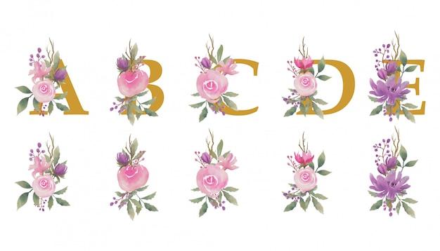 Ramo de flores de acuarela, con letras doradas del alfabeto