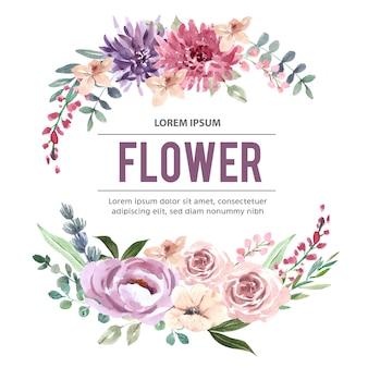 Ramo con flores acuarelas rosadas