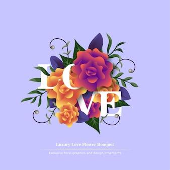 Ramo de flores de amor con plantilla de título
