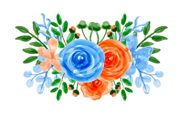 Ramo de flores azul naranja con acuarela