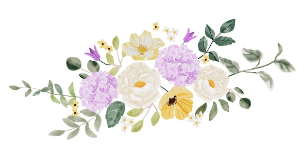 Ramo de flores de camelia blanca acuarela y hortensias moradas