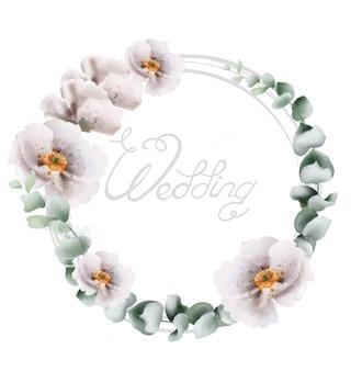 Ramo de flores de guirnalda de boda en acuarela