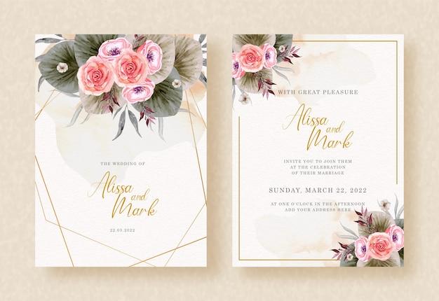 Ramo de flores y hojas de acuarela en invitación de boda