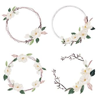Ramo de flores y hojas de magnolia acuarela aislado