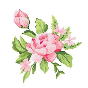 Ramo de flores y hojas de rosa