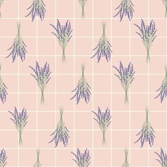 Ramo de flores de lavanda de patrones sin fisuras