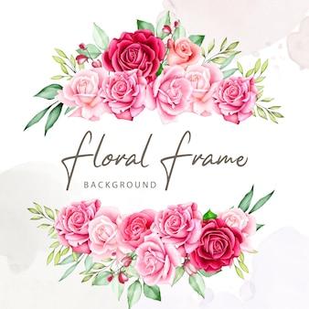 Ramo de flores marco acuarela colección