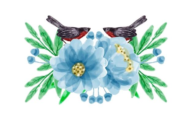 Ramo de flores y pájaros con acuarela