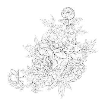 Ramo de flores de primavera de guirnalda de flores de estilo de contorno.