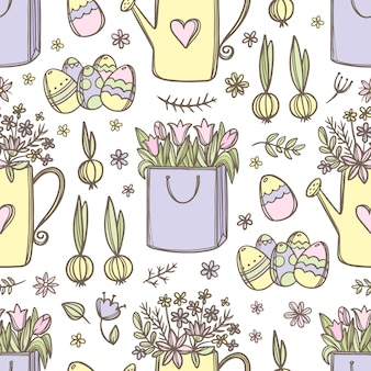 Ramo de flores de primavera de tulipanes en regadera y huevos de pascua de patrones sin fisuras dibujados a mano