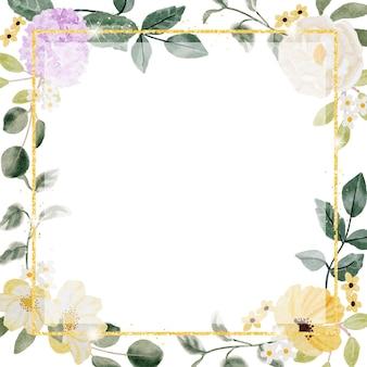 Ramo de flores de primavera verano acuarela con fondo de banner de marco dorado brillo
