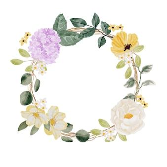 Ramo de flores de primavera verano acuarela en vector de marco de guirnalda de ramita seca aislado sobre fondo blanco