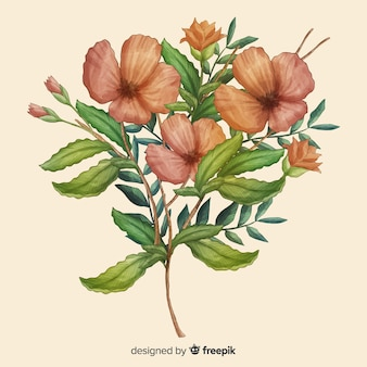 Ramo de flores realista dibujado a mano