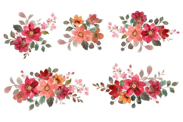 Ramo de flores rojas y marrones con acuarelas
