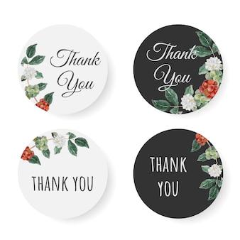 Ramo de flores y semillas de café de acuarela colección de pegatinas de agradecimiento