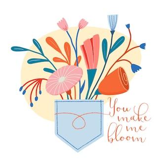 Ramo de flores silvestres pegadas en un bolsillo de jeans con texto romántico