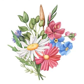 Ramo de flores silvestres de verano, composición redonda