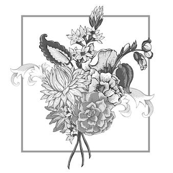 Ramo de flores vintage con remolinos.