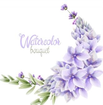 Ramo de guirnalda de flores de jacinto acuarela