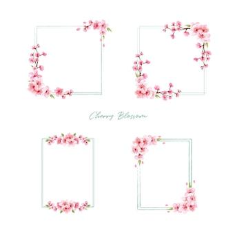 Ramo con ilustración de acuarela de diseño de concepto de flor de cerezo