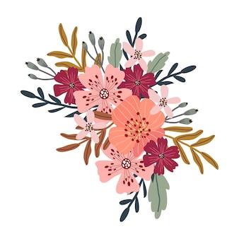 Ramo de mano abstracta dibujar flores.