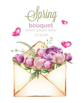 Ramo primaveral de flores de peonía y tulipán en estilo acuarela en un sobre