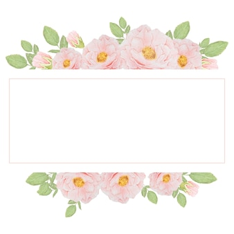 Ramo de rosas rosa acuarela en marco cuadrado