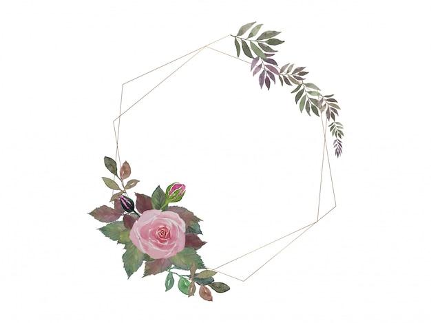 Ramo de rosas rosadas y hojas de pintura de acuarela con doble marco de alambre hexagonal dorado