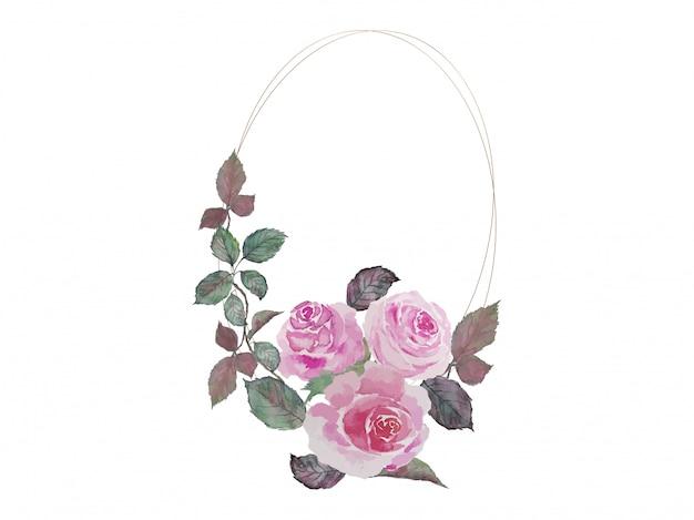 Ramo de rosas rosadas pintura acuarela con doble elipse dorado marcos de alambre ilustración