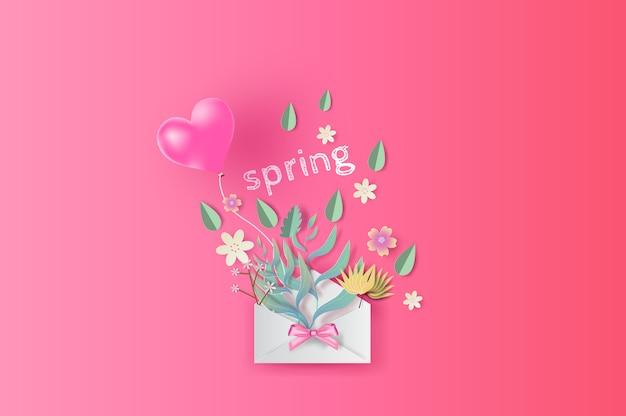 Ramo con texto de primavera, primavera.