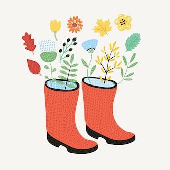 Ramo de tulipanes en unas hermosas botas de goma de lunares. ilustración. flores de primavera.