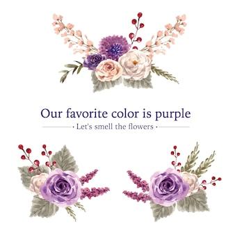 Ramo de vino floral con peonía, glicina, lavanda acuarela ilustración.