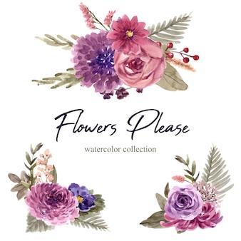 Ramo de vino floral con rosa, crisantemo ilustración acuarela.