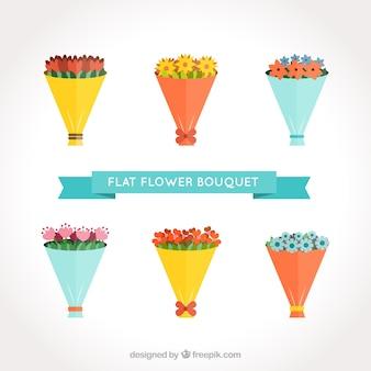 Ramos de flores de colores en estilo plano