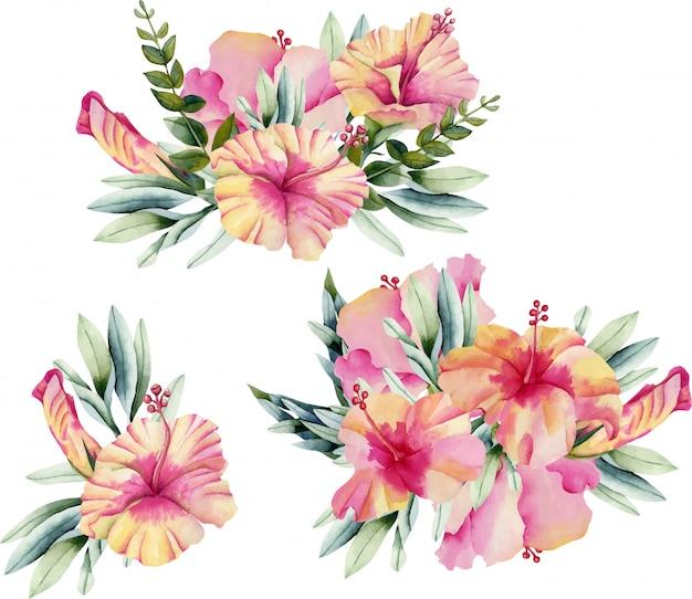 Ramos de flores de hibisco acuarela.