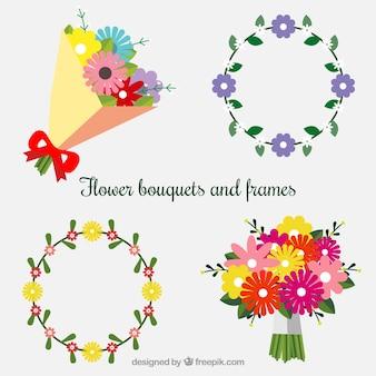Ramos de flores y marcos en estilo plano