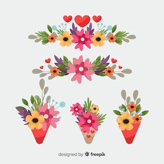 Ramos y guirnaldas de flores del día de san valentín