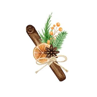 Ramos de navidad boho con ramas de pino, canela en rama, anís estrellado, naranja. ilustración aislada de la composición de la vendimia de la acuarela.