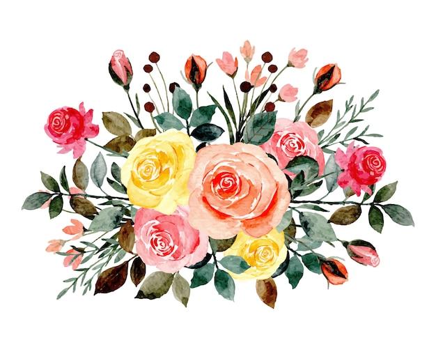 Ramos de rosas de colores con acuarelas