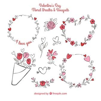 Ramos y coronas de flores de san valentín dibujadas a mano