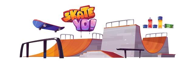 Rampas de skate park, monopatín y letras de graffiti aisladas sobre fondo blanco. conjunto de dibujos animados de vector de estadio con pista para patineta. zona de juegos para deportes extremos