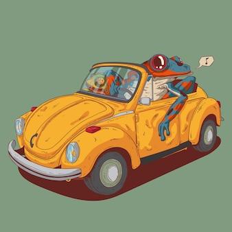 Una rana y un camaleón van a alguna parte en un coche viejo.