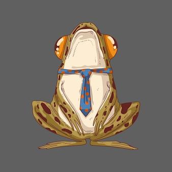 Una rana común del bosque con corbata y la cabeza en alto.