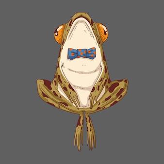 Una rana común del bosque con pajarita y la cabeza en alto.